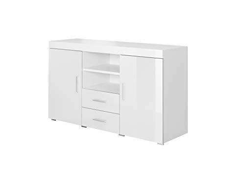 Muebles Bonitos   Aparador Moderno Roque   Ancho 140cm x Alto 80 cm x Profundo 40 cm   Mueble de Melamina Brillo   Color Blanco