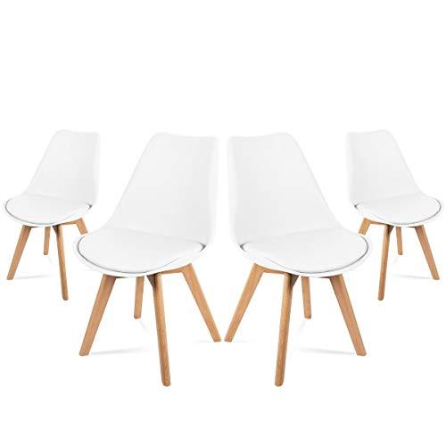 Mc Haus LENA Pack 4 sillas Blancas Madera nórdicas y Asiento Acolchado estilo vintage