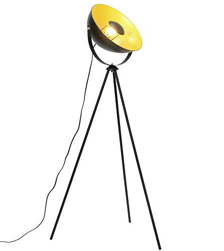 Lámpara de pie vintage - Lámpara de Suelo, pantalla negro-dorado Ø 34 cm, casquillo E27, Máx. 60W, diseño retro,147 cm lámpara de pie, interruptor de pie,metal,para salón, dormitorio...
