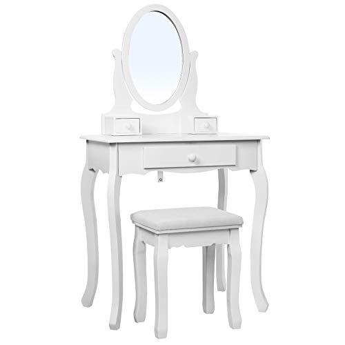 Songmics RDT004 - Tocador Mesa de Maquillaje con 3 Cajones, Espejo Oval