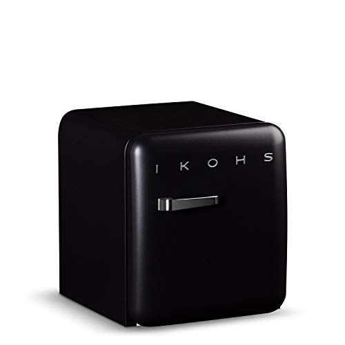 IKOHS Retro Fridge - Frigorífico con diseño, Control de Temperatura Ajustable, Estantes Intercambiables, Estética Vintage de los años 50, Clase Energética A+ (Negro, 50 cm)