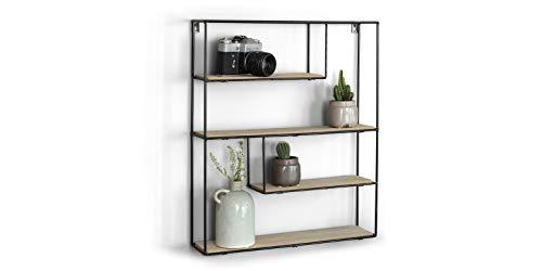 LIFA LIVING Estantería de Pared con 4 estantes, Madera y Metal, Diseño Vintage Industrial, Forma cúbica, para almacenaje de Libros, Fotos, Botellas, y más, 55 x 11 x 45 cm