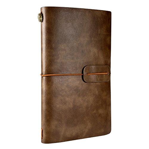 Cuaderno de Cuero, Rymall Cuaderno de Notas de Cuero, Libreta de Viaje Vintage, Cuaderno Vintage Agenda, Diario Cuero Vintage & Diario para Escribir o Viajes, 120mm X 200 mm