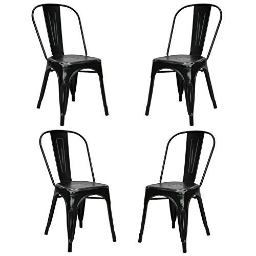 Vaukura Silla Oliix (Pack 4) - Silla Industrial Metálica Vintage (Negro)