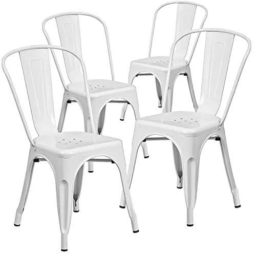 Home Heavenly® Pack de Cuatro sillas Comedor, Modelo TOLIX, sillas metalicas apilables Modelo Vintage Industrial, para Uso Interior, envío Desde España. (Blanco)