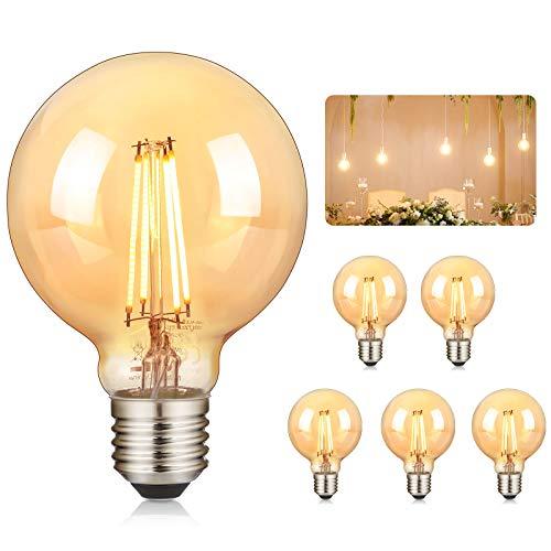 Bombilla Edison Vintage GolWof 6 Piezas G80 Bombilla de Filamento LED 360° Ámbar Resplandor Gran Angular 2700K Bombillas Decorativas Retro 4W (Equivalente a 40 W)