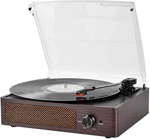 Tocadiscos estéreo de 3 velocidades con Altavoces incorporados, Salida RCA / Auriculares / MP3 / reproducción de música de móviles,Madera Natural