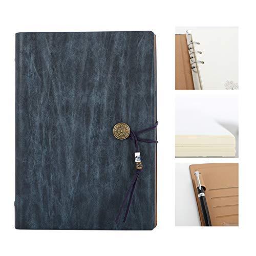 Therm La Mode Vintage Notebook A5 PU Funda de cuero Hoja suelta/Carpeta Bloc de notas Bolígrafo Portatarjetas Bolsillos 100gsm Papel, regalo Hombres Mujeres Estudiantes Azul