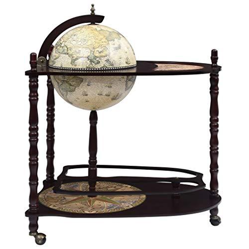 WooDlan Minibar|Mueble Bar Vintage Mueble Bar Soporte de pie Bola del Mundo Madera eucalipto Verde