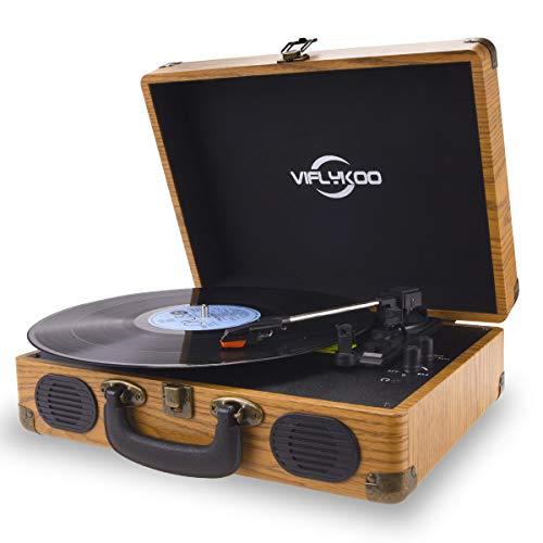 VIFLYKOO Tocadiscos de Vinilo, Tocadiscos Vintage Disco Vinilo LP 3 velocidades Reproductor de Discos Incorporado 2 Parlantes,Toma de Auriculares, USB, Entrada AUX, Salida RCA - Madera...