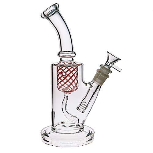 Grueso Bong - Pipa de agua de vidrio para fumar (tamaño mediano, alto, hecha a mano, con vástago descendente y cuenco de 14 mm, color rojo)