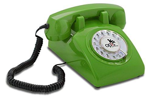 OPIS 60s Cable con Logo de Opis Technology: Teléfono Estilo Retro/teléfono Vintage de los años Sesenta con Disco de marcar (Verde)