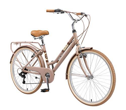 BIKESTAR Bicicleta de Paseo Aluminio Rueda de 28' Pulgadas   Bici de Cuidad Urbana 7 Velocidades Vintage para Mujeres   Marrón