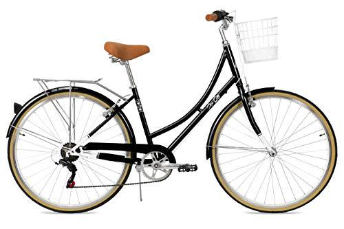 FabricBike Step City- Bicicleta de Paseo Mujer, Bicicleta Urbana Vintage Retro, Bicicleta de Ciudad Estilo Holandesa con Cambios Shimano y Cesta. Sillín Confortable. (Black + Cesta)