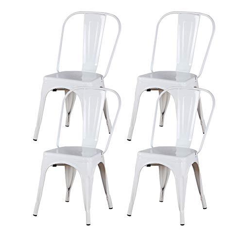 MUEBLES HOME - Juego de 4 sillas de comedor de metal, silla de cocina industrial apilable vintage con respaldo alto para interiores y exteriores, patio, cafetería y bistro, color blanco
