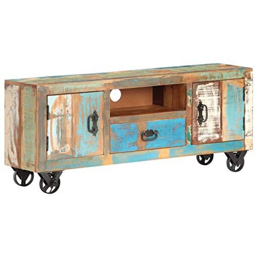 Ausla Mueble TV de madera con acabado pulido de diseño vintage de madera maciza con 3 compartimentos y 1 cajón y 4 ruedas de hierro fundido, 120 x 30 x 50 cm