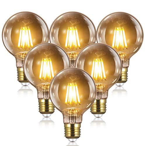 Bombillas Vintage Edison LED E27 - 8W(equivalente a 80W) 2700K / 1000LM, YUNLIGHTS 6PCS G80 Bombillas Edison Retro Filamento Bombilla Edison E27 Blanco Cálido [Clase de eficiencia...