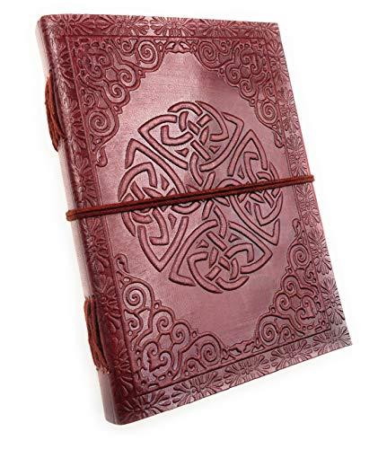 Chic & Zen – Cuaderno, bloc Note, diario, libro, piel auténtica, Vintage, nudo Celta Dara, 13 cm * 17 cm, papel Premium