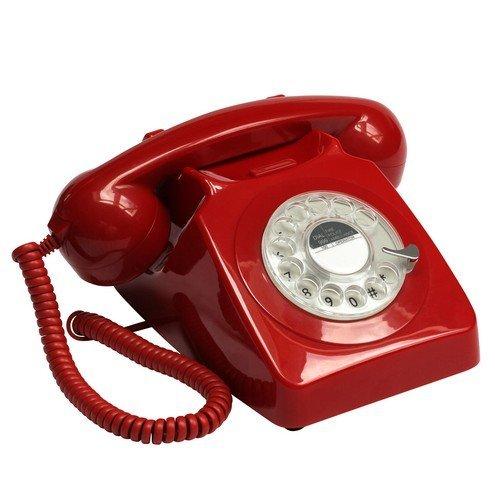 GPO 746 Teléfono fijo de disco con estilo retro de los años 70 - Cable en espiral, Timbre tradicional auténtico - Rojo