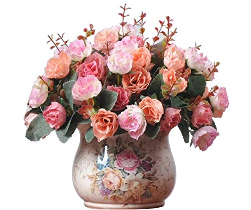 Ramo de rosas de seda artificiales vintage