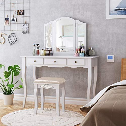 HOMECHO Tocador de Dormitorio Mesa Tocador para Maquillaje de Madera Blanca, con 3 Cajónes 3