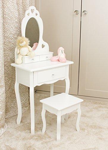 Tocador con taburete y espejo de niñas | Tocadores de maquillaje para niños pequeños, ideal para niñas de 3 a 7 años