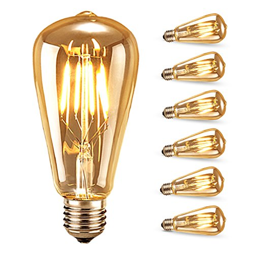 Bombilla de Filamento LED, Samione Vintage E27 Edison Bombilla Tungsteno Filamento Blanco C¨¢lido Decorativa Bombilla de Incandescente, 6 Unidades [Clase de eficiencia energ¨¦tica A++]