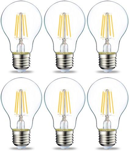 Amazon Basics Bombilla LED Esférica E27 con Filamento, 4.3W (equivalente a 40W), Blanco Cálido - 6 unidades