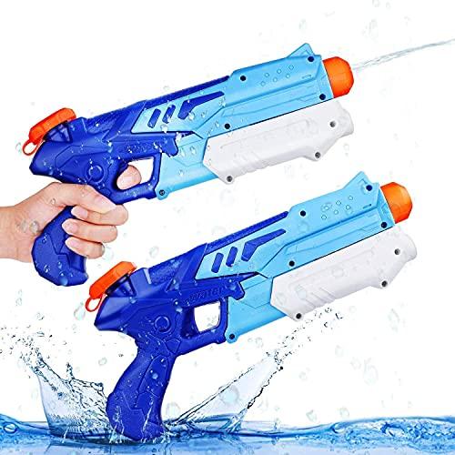 Ucradle 2 Pack Pistolas de Agua Chorro de Agua Squirt Gun, 300ML Soaker Guns para Niños Años Adultos, Juguetes de Verano Caliente para Piscina de Playa, para con Alcance Largo Rango de 9...