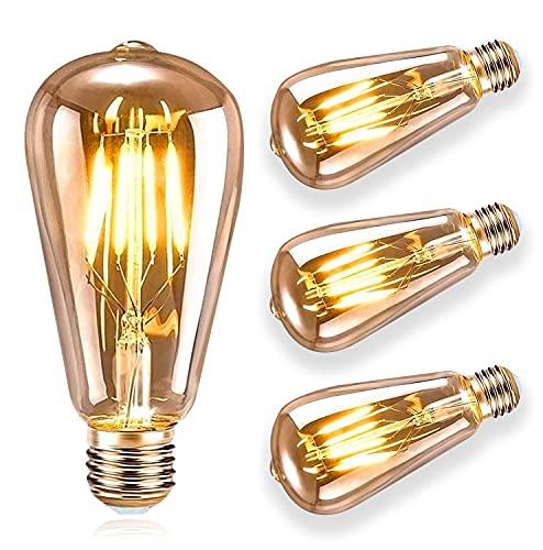 Vintage Edison Bombilla, ASANMU Bombilla LED Vintage E27 ST64 4W (Equivalente a 40W) 2200K Retro Edison Lámpara Ambar Cálido Bombillas Incandescentes para Lluminación y Decoración...