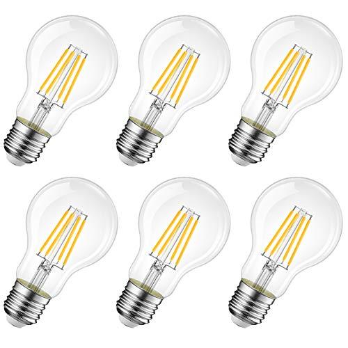 LVWIT Bombillas de Filamento LED E27 (Casquillo Gordo) - 8W equivalente a 60W, 806 lúmenes, Color blanco cálido 2700K. Bombilla retro vintage, No regulable - Pack de 6 Unidades.