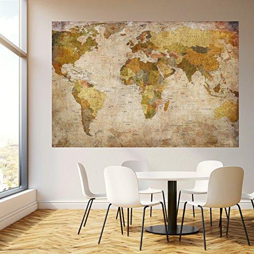 mural mapamundi vintage sobre papel pintado