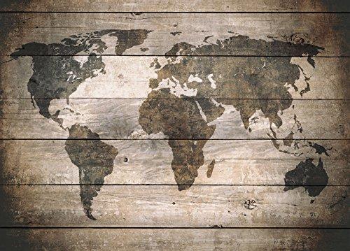 mapamundi vintage sobre madera artestock