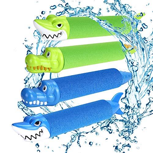 joylink Pistolas de Agua, Pistola de Agua de Espuma EVA Pistola de Espuma de Agua Tirador Juguete Infantil para Batalla de Agua, Playa, Piscina(4pcs)