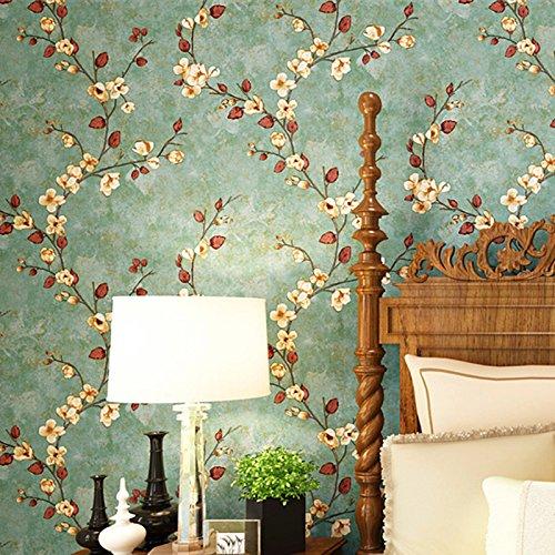reyqing Non Woven papel pintado, estilo americano, estilo rústico, Vintage, color verde, ratán flor papel pintado, dormitorio sala de estar, fondo pared, AB edition, Wallpaper only, Beige...
